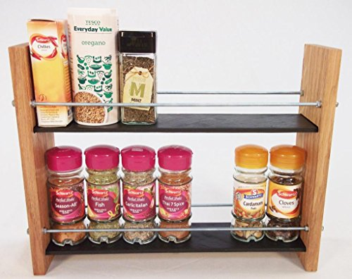 Design en Chêne massif et Ardoise.. Épice/Présentoir pour plantes.. 2 Niveaux, 14 pots - Style moderne contemporain - Étagères profondes pour les larges bocaux d'épices, boîtes, pots Kilner
