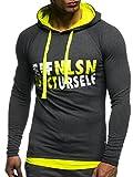 LEIF NELSON Gym Herren Fitness Sweatshirt mit Kapuze Hoodie Langarm Trainingsshirt T-Shirt Training LN06278; Größe L, Anthrazit-Gelb