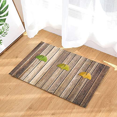 yinyinchao Hölzerne Badteppiche,Ginkgo-Blatt-Exemplar Auf Holzbrett,Rutschfeste Fußmattenbodeneingangs-Innen-Haustürmatte,Kinderbadmatte,40X60Cm,Badzubehör