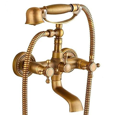 MCC Téléphone Douche Set Bronze Antique Terminer Euro Style mural de douche élégant robinet d'eau chaude et froide poignée double , A