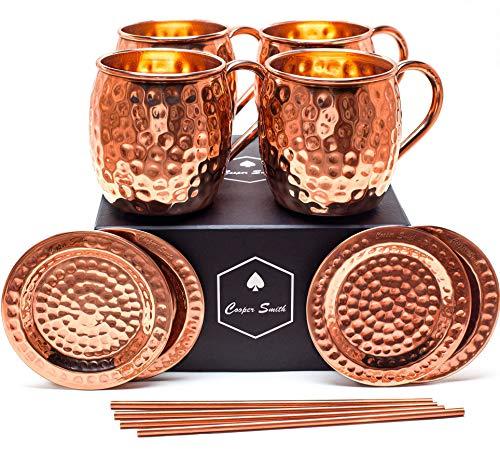 Cooper Smith Moscow Mule Kupferbecher aus 100% Kupfer - Handgefertigtes 4er Set bestehend aus Kupferbecher, Kupfer Untersetzer und Kupfer Strohhalme -