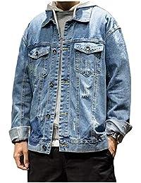 Vinyst Men's Retro Multi-Pocket Turn Down Collar Destroyed Washed Denim Jackets