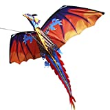 Festnight 140 x 120 cm Drachen Einzellinie Kinderdrachen Fliegende Kite mit Schwanz 100m Fliegenschnur Outdoor-Spielzeug für Kinder und Erwachsene