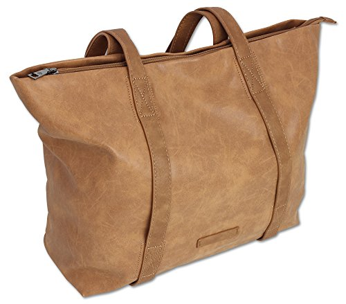 Edle Damen Handtasche Shopper Schultertasche mit 2 Henkeln Tragetasche Groß in 3 Farben (3448) (Cognac) (Leder-nylon-schulter-bag -)