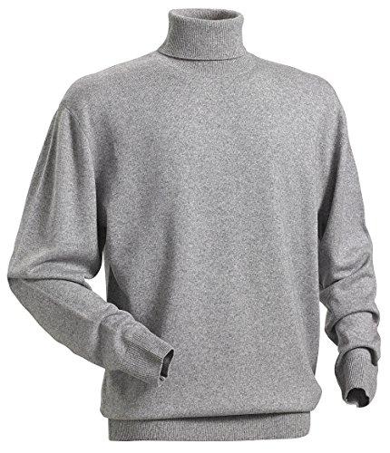 Royal Spencer Herrenpullover aus Kaschmir-Seide, mit Feinripp-Rollkragen in Grau für Anlässe aus Business & Freizeit, angenehmes Tragegefühl (Gr. M - XXL) (Pullover Look Seide Klassischen)