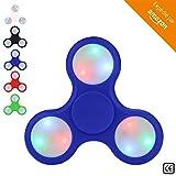 BeZen Fidget Spinners - Spinner Anti Stress Lumineux avec LED pour Adultes et Enfants (Bonus: eBook gratuit) (Bleu)
