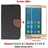 Shoppingmonk (COMBO OFFER) Flip Cover Case Wallet Style For Mi Redmi 4 / Xiaomi Redmi 4 ( Black:Brown ) + 2.5D Curved 3D Tempered Glass Screen Protector ( Gold )
