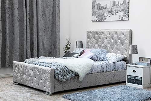 Sleep Design Buckingham Fabric Upholstered Bed Frame Double/King Size (Double 4ft6, Silver)