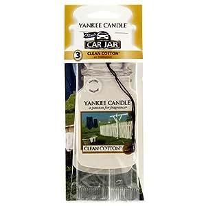 Yankee Candle (Bougie) - Clean Cotton - Pack de 3 Jarres Désodorisantes pour Voitures