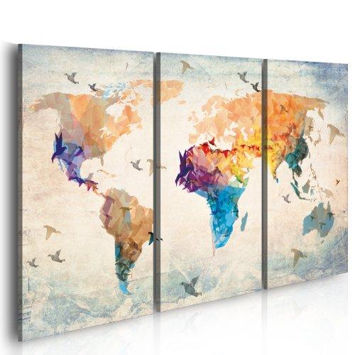 Bd xxl murando - quadro 120x80 cm - 3 parti - quadro su tela fliselina - stampa in qualita fotografica - mappa del mondo 020113-232