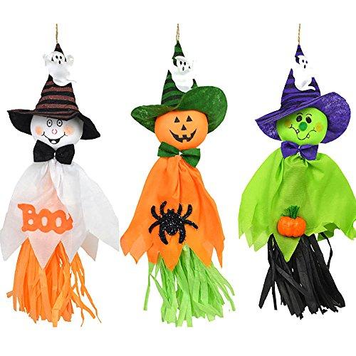 DDU Neu 3 stück halloween - geist spook kürbis hut hexe vogelscheuche puppe dekor - party nach (Für Halloween Vogelscheuche)