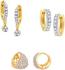 Zeneme Gold-Plated Combo Of Hoop Earrings For Women