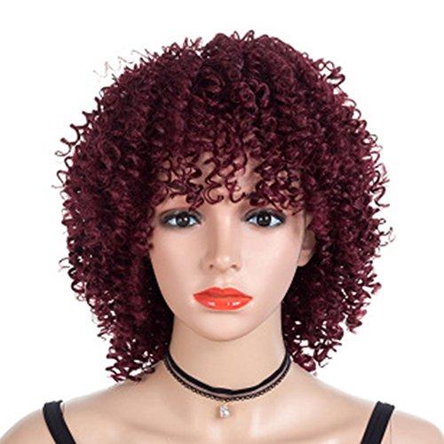 SHUAIGE kleine lockige Kurze Haare weibliche perücke Mode Flauschige Hause Explosion Kopf rot Kopfschmuck Urlaub Party Cosplay chemiefaser hochtemperaturseide synthetische perücke (Haus Von Perücken)