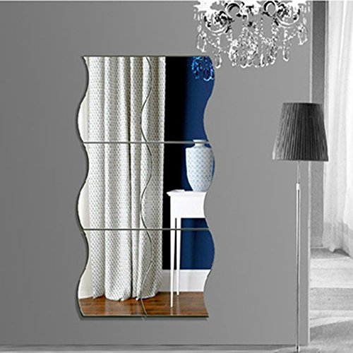 vasyle 6pcs Wave espejo adhesivo decorativo para pared decoración extraíble (plata)