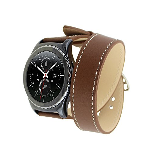 Samsung Gear S2 Classic Cinturino,YeSu Generic Leather Double Tour Replacement WristCinturino Bracelet Strap with Steel Buckle for Samsung Gear S2 Classic