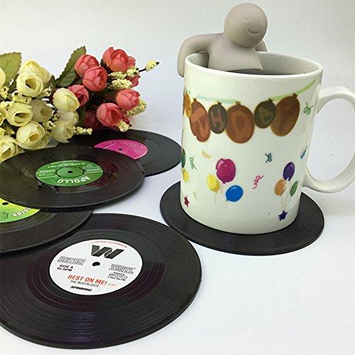 Vinyl Untersetzer, 6er-Set Retro Stil Record Vinyl Schallplatten Untersetzer Tasse Matte Kaffee...
