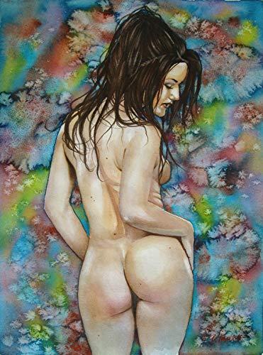Unbekannt erotisches Gemälde Original Aquarell nackte Frau beim Tanz Gemälde Malerei Painting by B. IVKOV handgemalt Kunst Akt Bilder Malerei