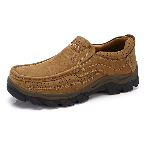 CAMEL CROWN Mens Loafers Casual Slip On Boat Shoes Leather Loafer Lightweight Walking Shoe for Work Office Outdoor Brown