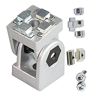 einstellbarer Winkelverbinder Gelenk mit Zubehör Schrauben Nutensteine für 40x40 Aluminium-Konstruktionsprofile