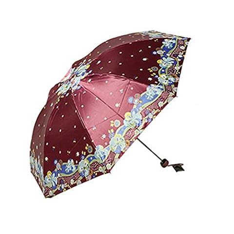 GT Umbrella Manual Fashion 3-Folding Umbrella Creative Rain Umbrella Sturdy Windproof Anti-UV Sunscreen Umbrella
