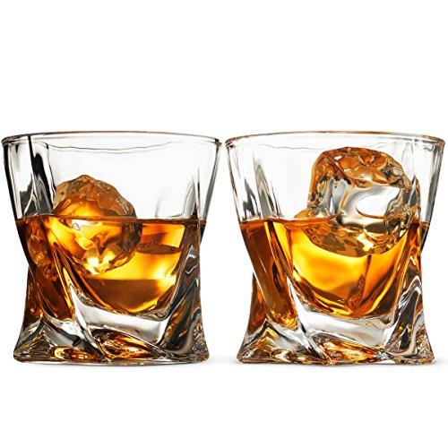Double Old Fashioned, Scotch-gläser (Whiskey Gläser Set-Set of 2, 8oz Double Old Fashioned Whisky Gewichteter Gläser für Wein, Bourbon, brandy, Whisky, Scotch etc. Mit magnetischer Geschenk Box Hohe Klarheit Irish Trinkgläser)