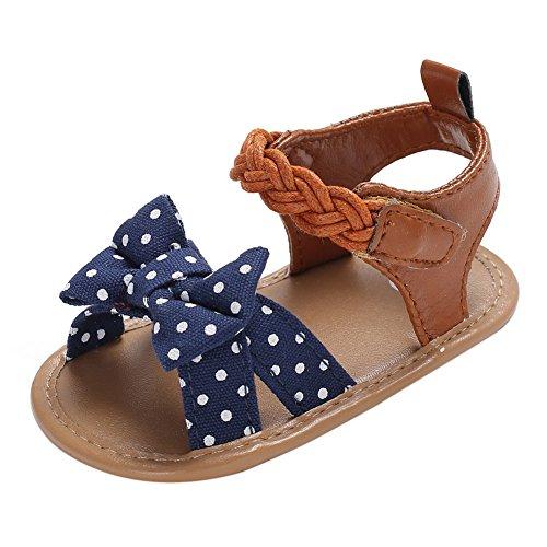 Minuya Chaussures de Bébé, Chaussures Bebe Fille Cuir Souple Bowknot Ete Sandales Chaussures Premiers Pas pour Bébé Fille 0-18 Mois
