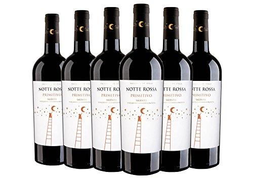 Salento Primitivo IGT 2018 - Notte Rossa - 6 x 0,75 l. - Italienischer Wein - Apulia - Italien