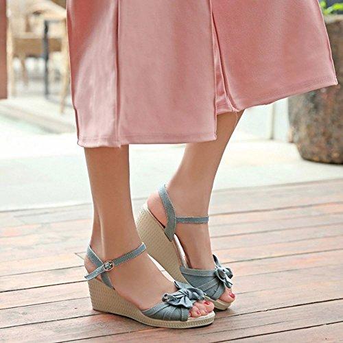 COOLCEPT Damen Mode Keilabsatz Plateau Schuhe Ohne