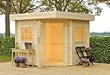 Outdoor Gartenhaus / Flachdachhaus Karlijn 250 Sockelmaß: 250 x 250 cm Dachstand: 294 x 294cm Wandstärke: 28 mm Rauminhalt: 13,10 cbm EPDM - Dacheindeckung: Inklusive Dachrinnenset: Inklusive Ausführung: naturbelassen Material: Massivholz