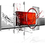 Cuadro 200x100 cm - 3 tres colores a elegir - 5 Partes - Formato Grande - Impresion en calidad fotografica - Cuadro en lienzo tejido-no tejido - abstracci�n a-A-0012-b-n 200x100 cm B&D XXL