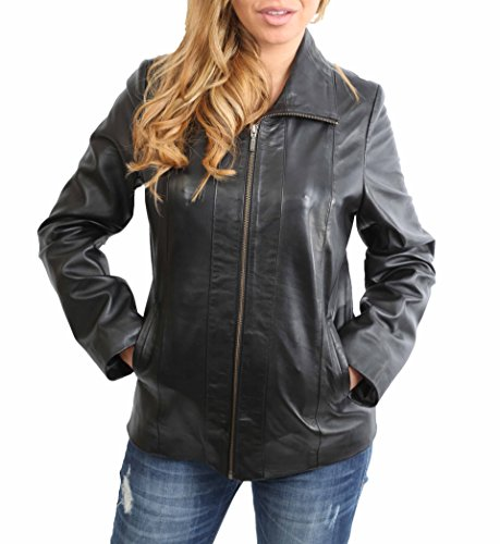 Damen Klassisch Zip Up Echtes Lederjacke Damen Semi Fitted Lammfell Mantel JULIA Schwarz (XXXL (46)) (Jacke Semi Fitted)