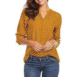 YU'TING Mujer Camiseta 3/4 Mangas Lunares Blusa Elegante Noche Casual Oficina Camiseta
