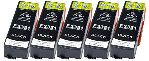 5 Druckerpatronen XL nur Schwarz ersetzen Epson T3351 geeignet z.B. für Epson Expression Premium XP-530, XP-540, XP-630, XP-635, XP-640, XP-645, XP-830, XP-900