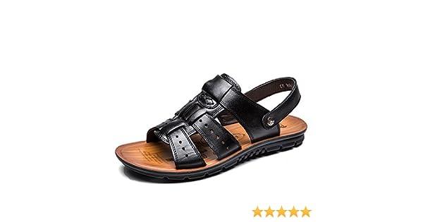 Inconnu LIEBE721 Hommes Chaussures Cuir Confort Chaussures Appartement /Ét/é Vacances Plage Faire Glisser Boucle Open Toe Mode Loisir Poids l/éger Glisser sur des Sandales