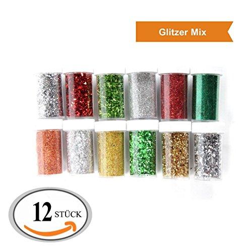ZADAWERK® Glitzer - Weihnachten - 12 Farben