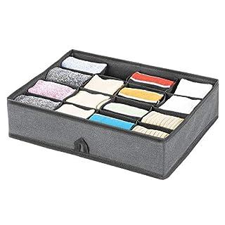 mDesign boite de rangement - rangement tiroir à 16 compartiments pour une organisation minutieuse - rangement vêtements, chaussettes, lingerie, bijoux, etc. - gris ardoise/noir