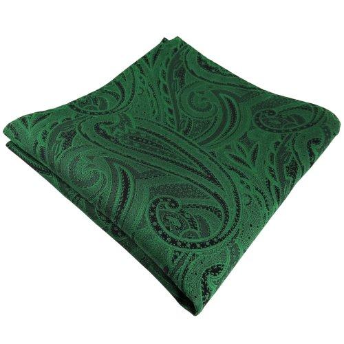 TigerTie Einstecktuch in grün smaragdgrün schwarz Paisley - Tuch Polyester Kavalierstuch Stecktuch Pochette (Donald Duck Anzug)