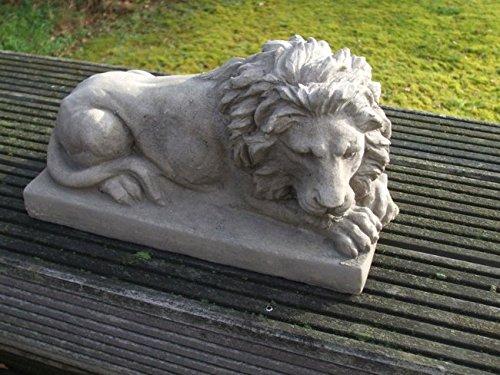 Dekofigur, Statue, Löwe, Skulptur, Sandstein-Optik, 38 cm, re., grau