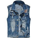 YOUTHUP Herren Jeans Denim Weste Fashion Jeans Casua Herren Freizeitl Weste