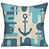 Anchor Nautical Sea Inspired Abstract Design with Bubble Like Shapes Retro Decorative Cream Pale Blue Dark Blue House Decor Throw Pillow Cover 18