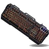 RCXOO Ergonomie-Design Verdrahtete Metallfarbe Hintergrundbeleuchtung Mechanische Gaming-Tastatur Wasserdichte USB-Tastatur Gelten Für Desktop-PC,Black1-480 * 220 * 45mm