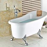Galvanik Retro Wasserhahn Floor Mount Bad Chrom frei stehende Clawfoot Badewanne Filler Faucet Boden montiert, Weiß