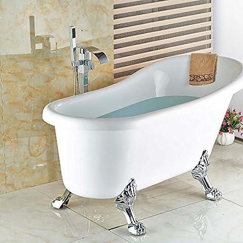 Support au sol de salle de bain Clawfoot debout sans chrome Robinet de baignoire pour fixation au sol