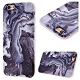 """GrandEver Soft Back Cover for Apple iPhone 6 iPhone 6S Silicone Case Printed Marble Stone Pattern TPU Bumper Protective Slim Gel Skin Rubber Case Flexible Shock Scratch Resist Protection Shell for iPhone 6/6S (4.7"""") -- Black Watercolor"""