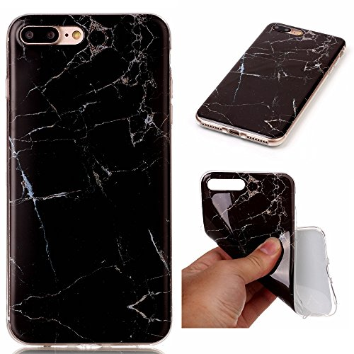 Ecoway Patrón de mármol TPU Funda Case for iPhone 7 Plus (5,5 zoll) , Ultra Thin Carcasa Anti Slip Soft Bumper Scratch Resistant Back Cover Crystal Clear Flexible Silicone Case Parachoques Carcasa Funda Bumper - negro