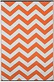 Green Decore - Tappeto ecologico per interni ed esterni, motivo psichedelico, reversibile e leggero, dimensioni: 120 x 180 cm, colore: arancione/bianco