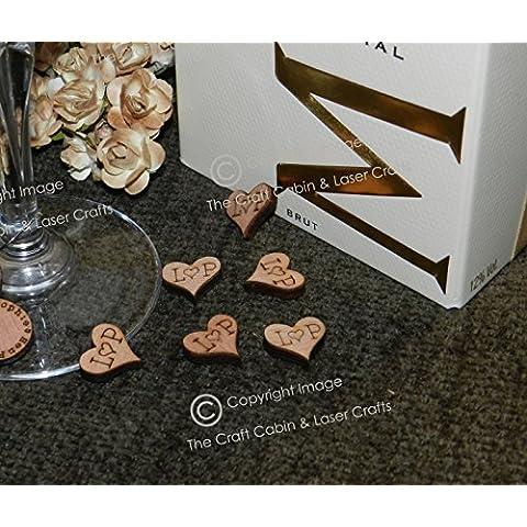 50mini in legno personalizzabile Monogram Vintage con cuori in legno 15mm, bomboniere, decorazioni, matrimoni - Monogram Cuore