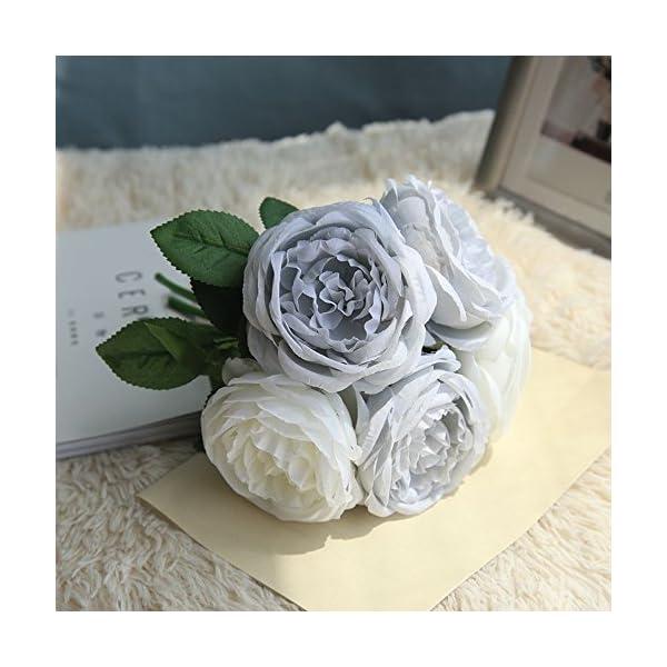 ForgetMe – Ramo de Flores Artificiales de Seda para decoración del hogar, 5 Flores de Cabeza de Flor, Ramo de Flores…