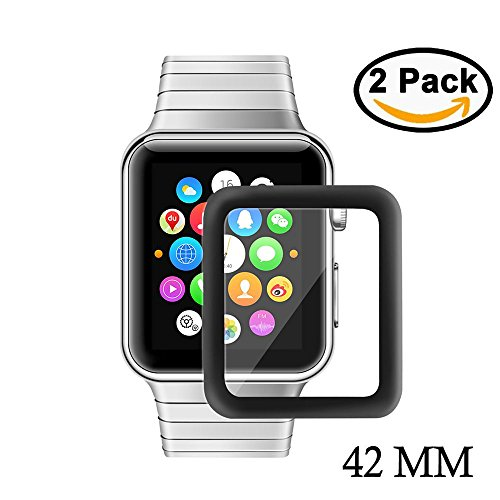 [2 Pack] Apple Watch 42mm Protector de Pantalla, YZCX Screen Protector Cobertura Completa 9H Dureza Cristal Vidrio Templado Premium, Ultra HD Sin Burbujas Resistente Arañazos Membrana para Apple Watch Series 1/2/3 42mm