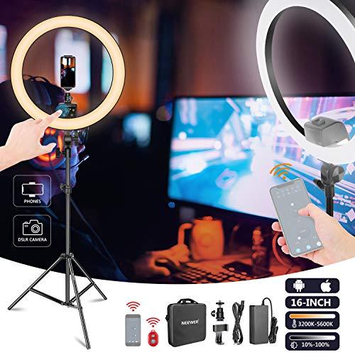 Neewer APP kontrolliertes 16 Zoll LED-Ringlicht mit Berührungssteuerung mit LCD-Bildschirm mehrfache Lichtkontrolle 3200-5600K Lichtstativ für Make-up...